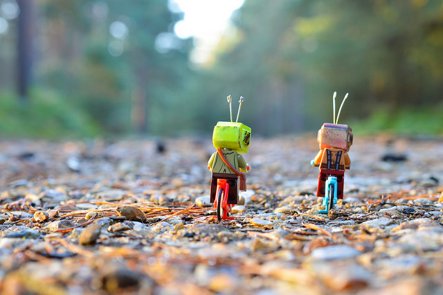Two LEGO figures riding bikes in Swinley Forest.