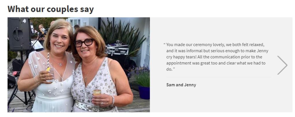 Screenshot of a wedding ceremony testimonial.