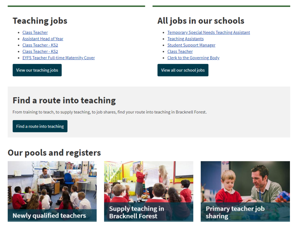 Updates to teaching jobs webpage improve the customer experience.